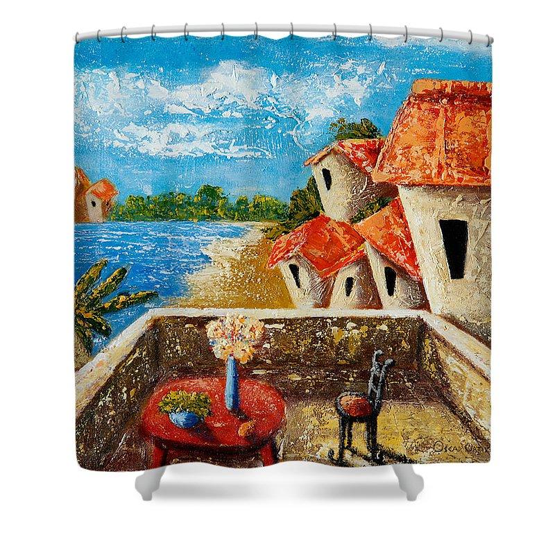 Landscape Shower Curtain featuring the painting Playa Gorda by Oscar Ortiz