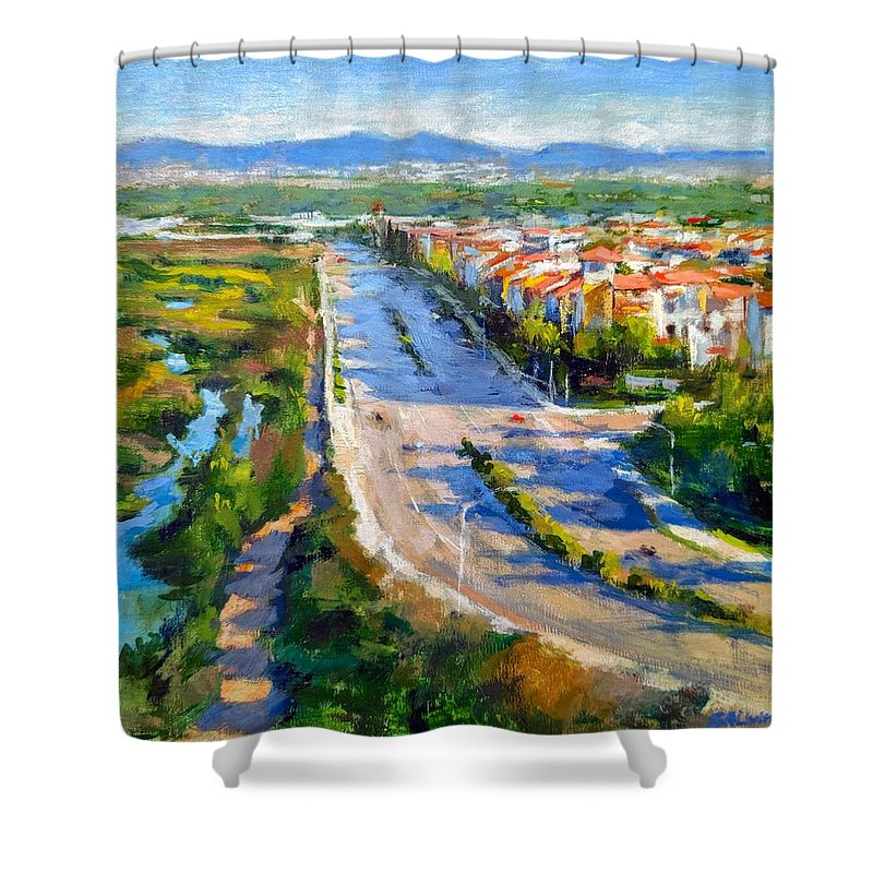 Lincoln Boulevard Shower Curtain featuring the painting Playa Vista And Ballona Wetlands From Bluff Trail Park by Peter Salwen