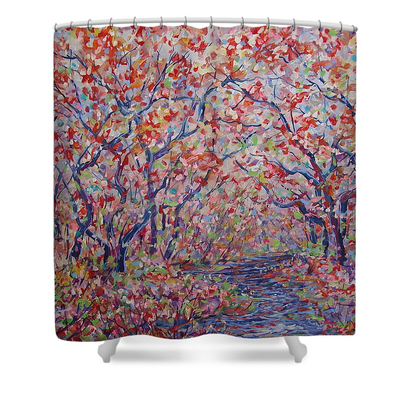 Landscape Shower Curtain featuring the painting Poetic Forest. by Leonard Holland