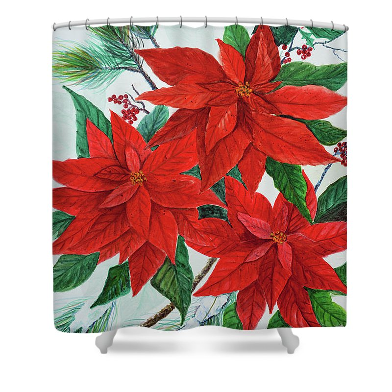Poinsettias Shower Curtain featuring the painting Poinsettias by Ben Kiger