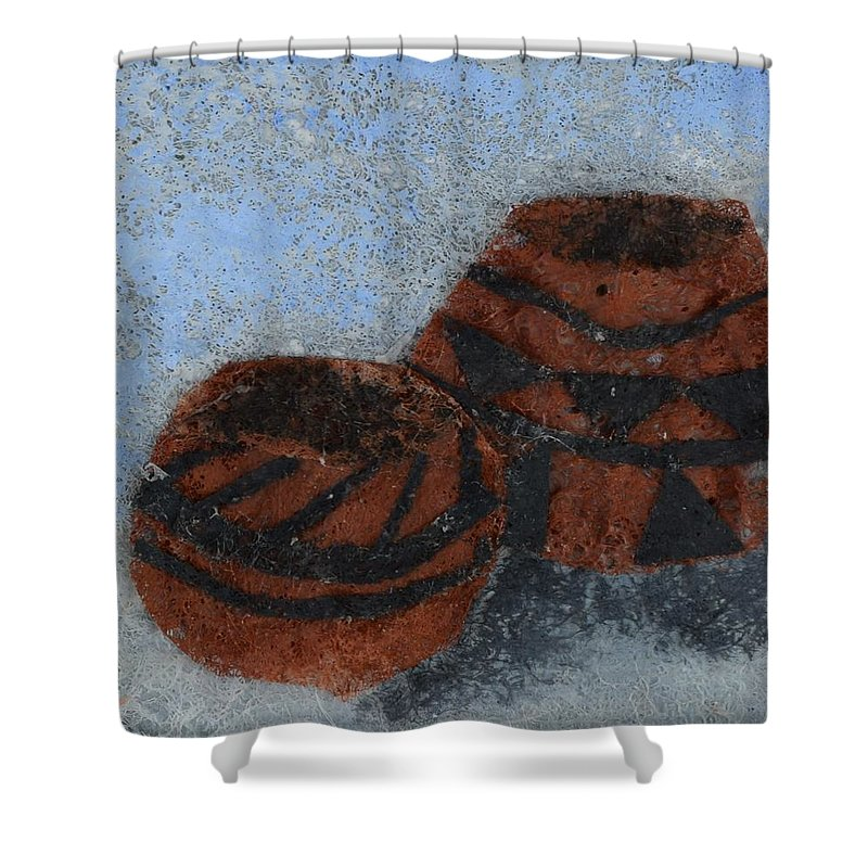 Pottery Shower Curtain featuring the mixed media Pots by Charla Van Vlack