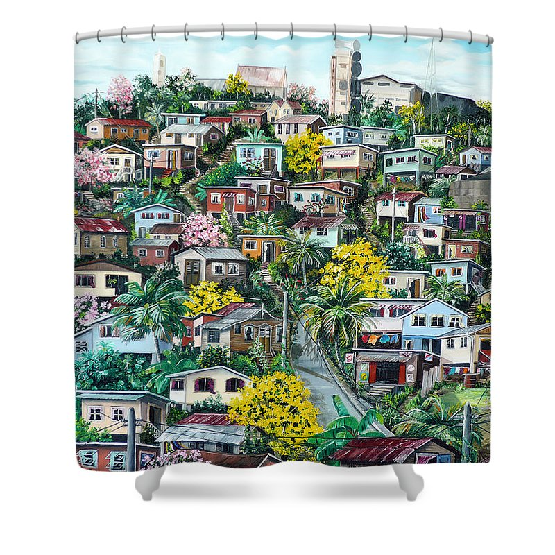 Landscape Painting Cityscape Painting Original Oil Painting  Blossoming Poui Tree Painting Lavantille Hill Trinidad And Tobago Painting Caribbean Painting Tropical Painting Shower Curtain featuring the painting Poui On The Hill by Karin Dawn Kelshall- Best