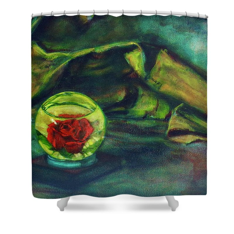 Oil Painting On Canvas Shower Curtain featuring the painting Preserved Rose . . Draped Canvas by Sean Connolly