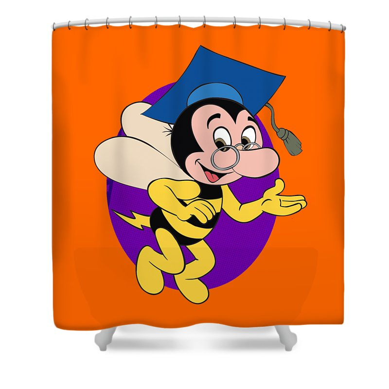 Professor Beetoven Shower Curtain featuring the drawing Professor BEEtoven by Cartoon Gems