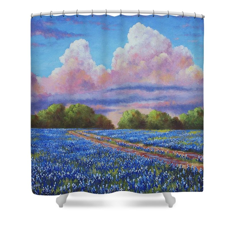 Rain Shower Curtain featuring the painting Rain For The Bluebonnets by David G Paul