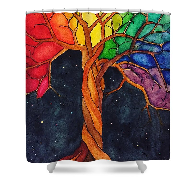 Rainbow Shower Curtain featuring the painting Rainbow Tree with Night Sky by Vonda Drees
