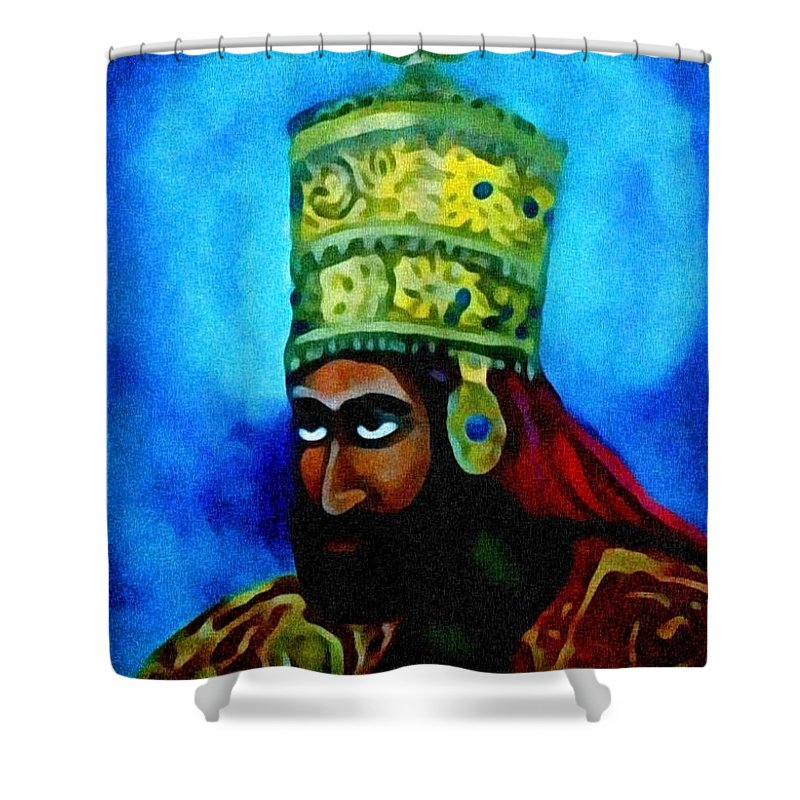 Painting Of Rastafari Shower Curtain featuring the painting Rastafari by Andrew Johnson