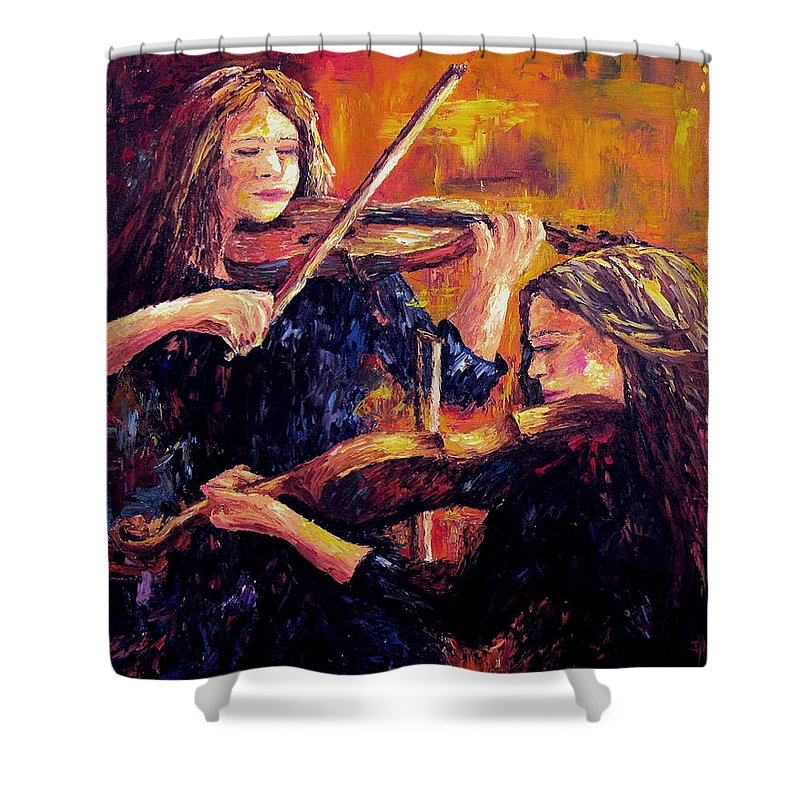Recital Shower Curtain featuring the painting Recital by David G Paul