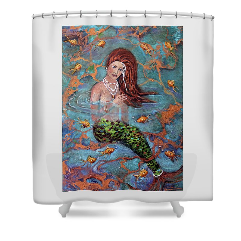 Blue Shower Curtain featuring the painting Red Headed Mermaid Ophelia Painting by Linda Queally by Linda Queally