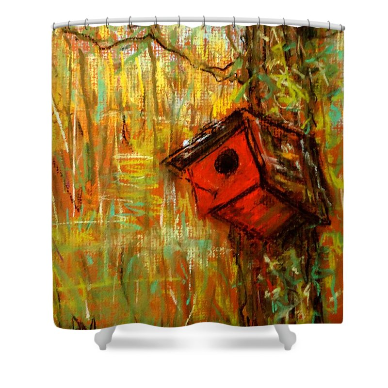Birdhouse Shower Curtain featuring the pastel Red House by Pete Maier