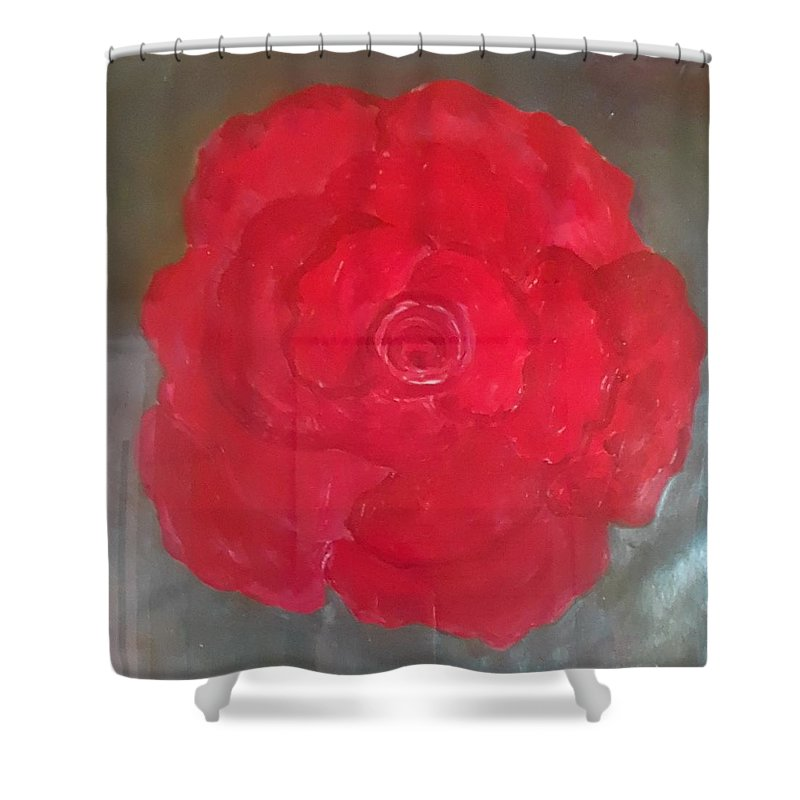 Red Shower Curtain featuring the painting Red Rose by Carol P Kingsley