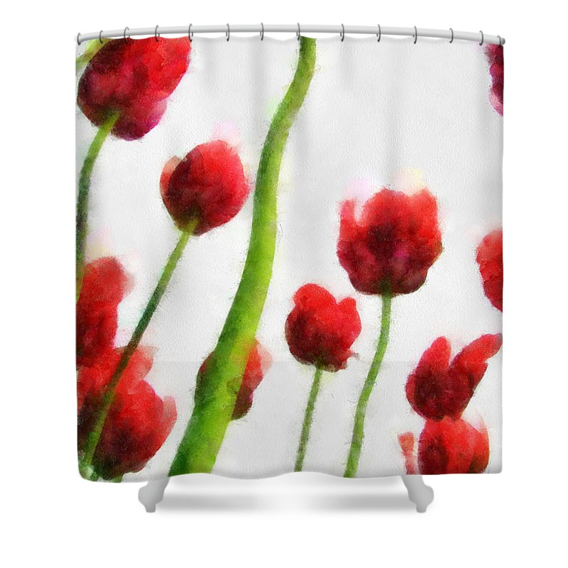 Hollander Shower Curtain featuring the photograph Red Tulips from the Bottom Up I by Michelle Calkins