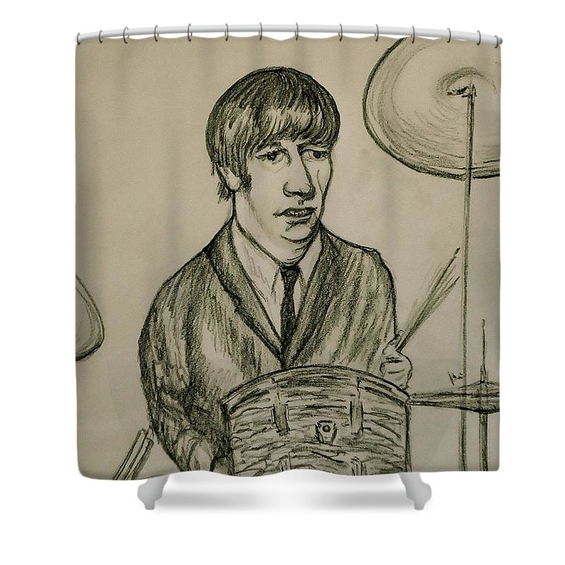 Beatles Shower Curtain featuring the drawing Ringo by Pete Maier