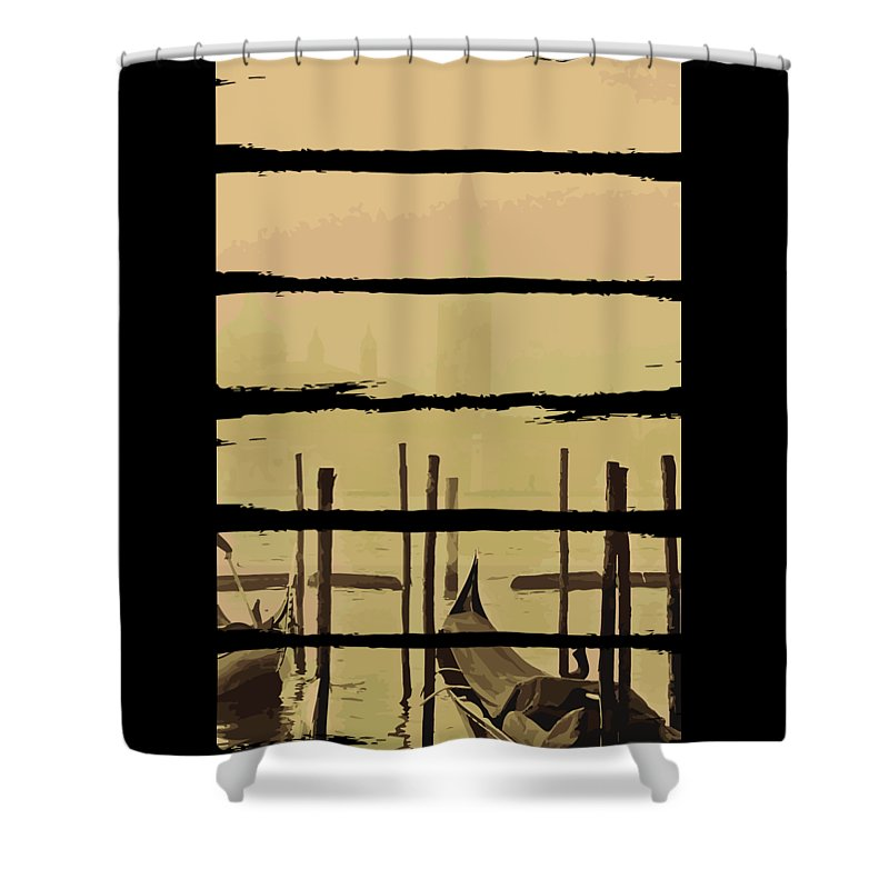 Fishing Shower Curtain featuring the digital art River Boat Scenery by Jacob Zelazny