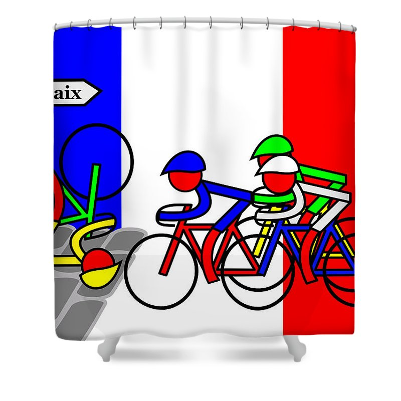 Roubaix Shower Curtain featuring the mixed media Roubaix by Asbjorn Lonvig