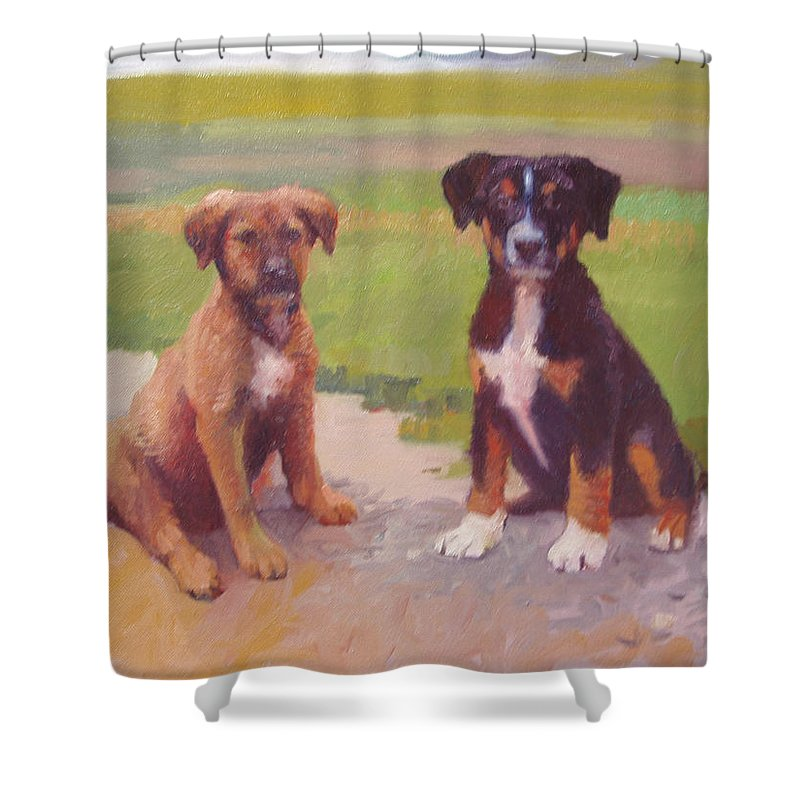 Pet Portrait Shower Curtain featuring the painting Rusty and Bandit by Dianne Panarelli Miller