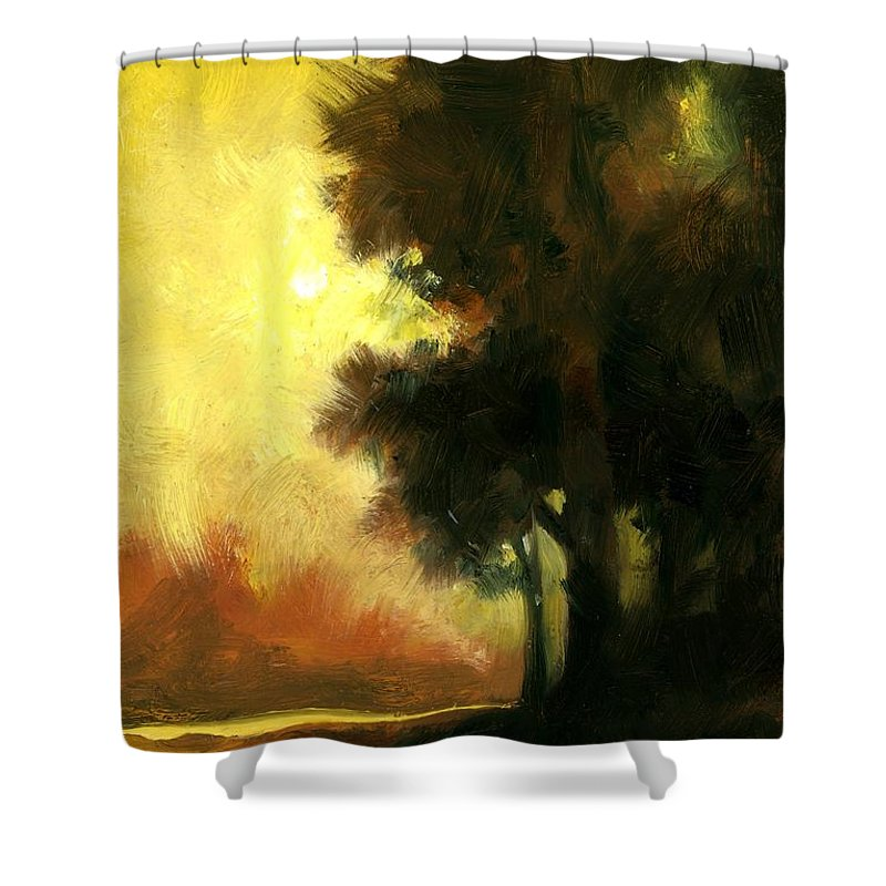 Landscape Shower Curtain featuring the painting Sailors Delight by Jim Gola