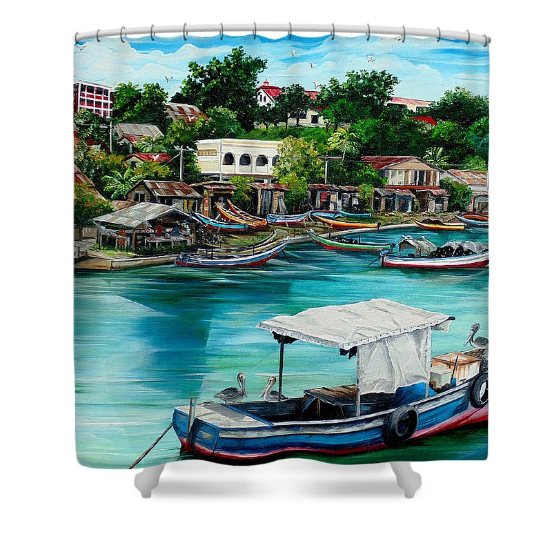 Ocean Painting Sea Scape Painting Fishing Boat Painting Fishing Village Painting Sanfernando Trinidad Painting Boats Painting Caribbean Painting Original Oil Painting Of The Main Southern Town In Trinidad  Artist Pob Shower Curtain featuring the painting Sanfernando Wharf by Karin Dawn Kelshall- Best