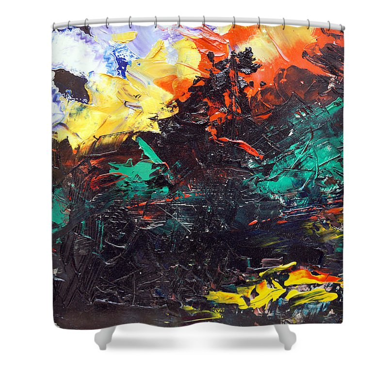 Vision Shower Curtain featuring the painting Schizophrenia by Sergey Bezhinets