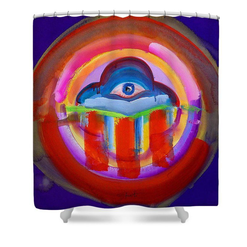 Button Shower Curtain featuring the painting See No Evil by Charles Stuart