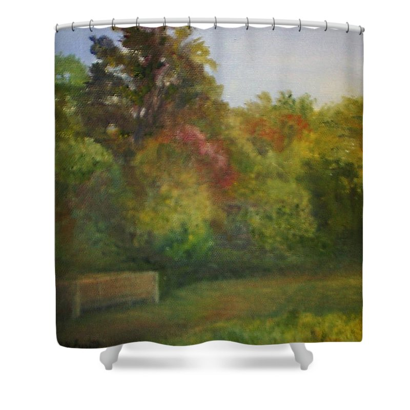 September Shower Curtain featuring the painting September in Smithville Park by Sheila Mashaw