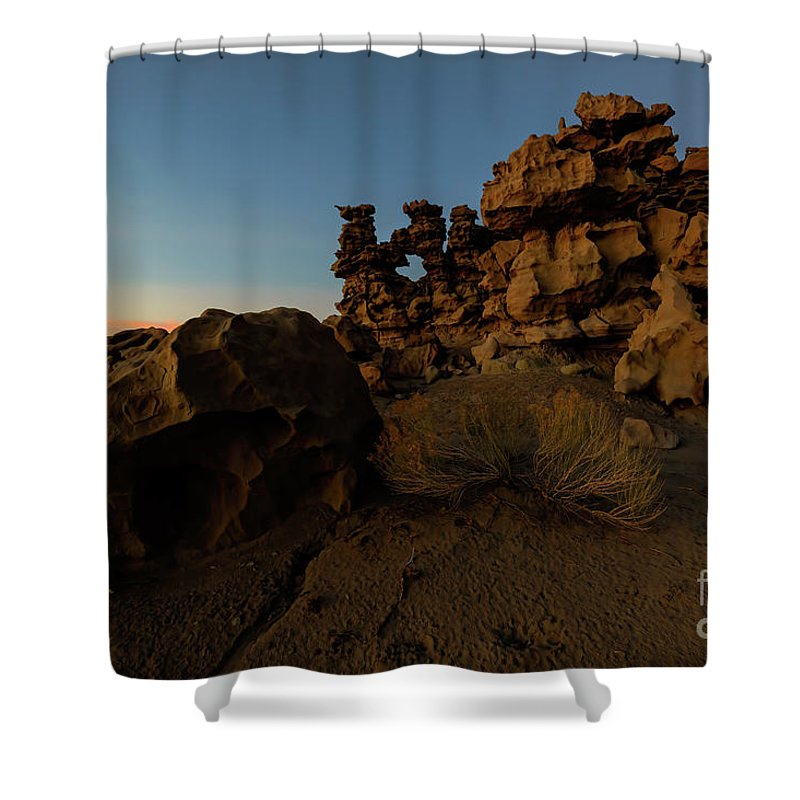 Fantasy Canyon Shower Curtain featuring the photograph Shaped by the Elements by Mike Dawson