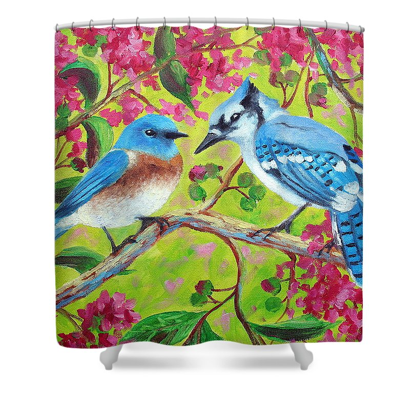 Birds Shower Curtain featuring the painting Sharing A Branch by David G Paul