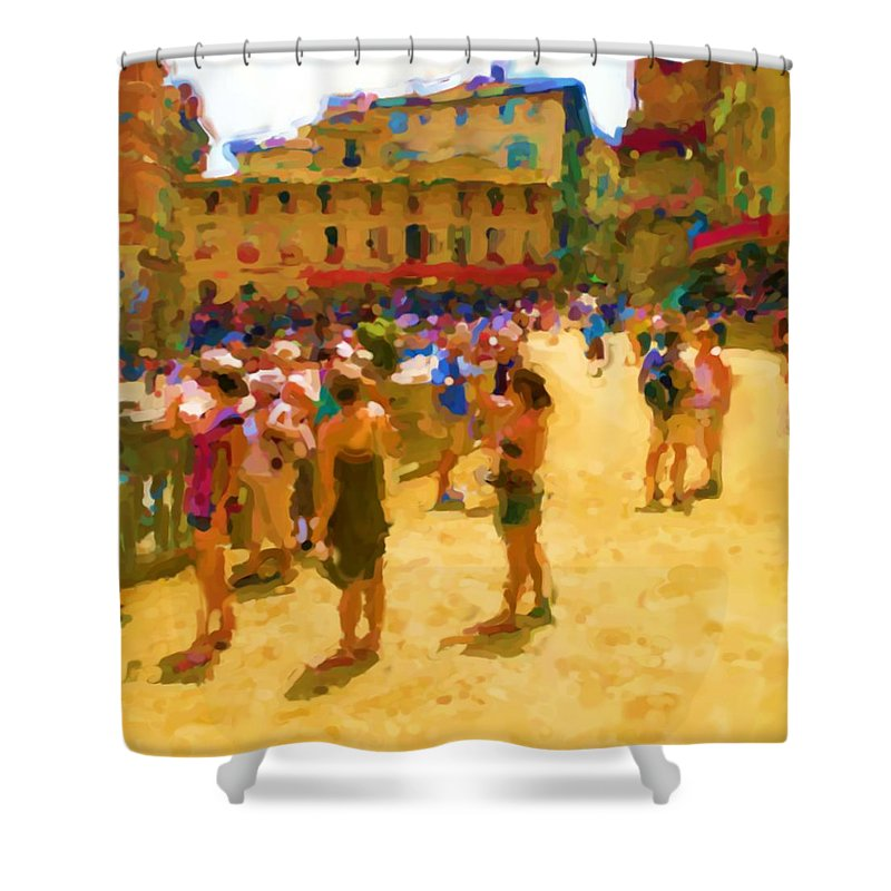 Sienna Shower Curtain featuring the mixed media Sienna by Asbjorn Lonvig