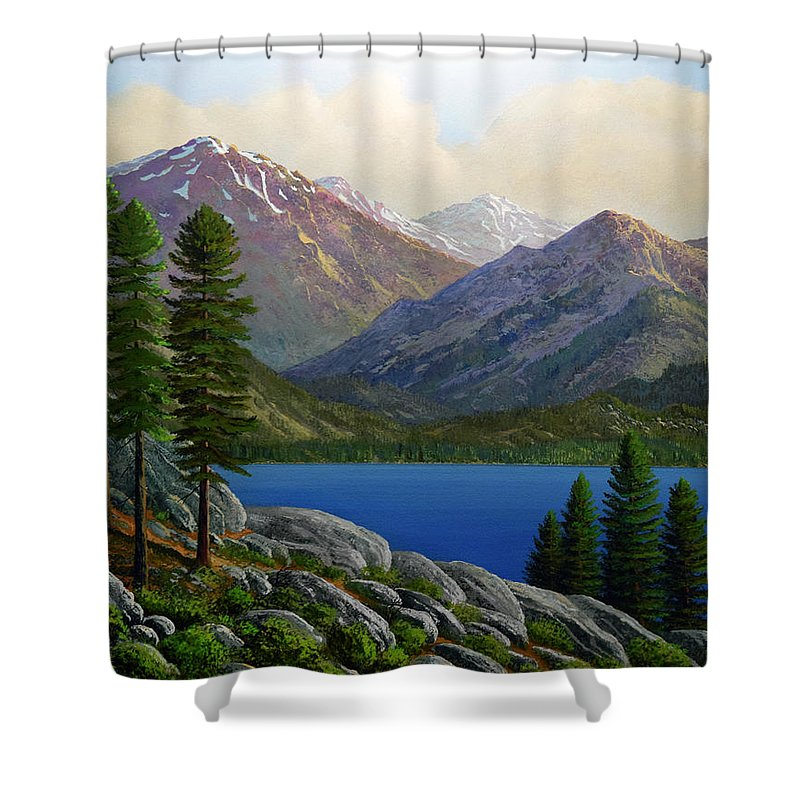 Landscape Shower Curtain featuring the painting Sierra Views by Frank Wilson