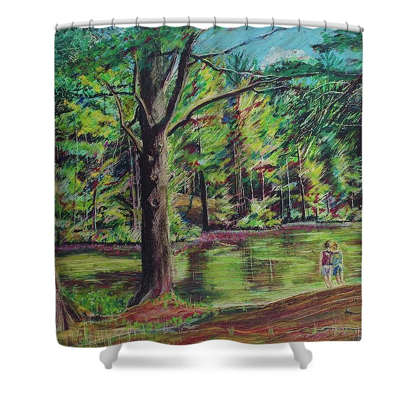 Family Shower Curtain featuring the pastel Sisters At Wason Pond by Sean Connolly