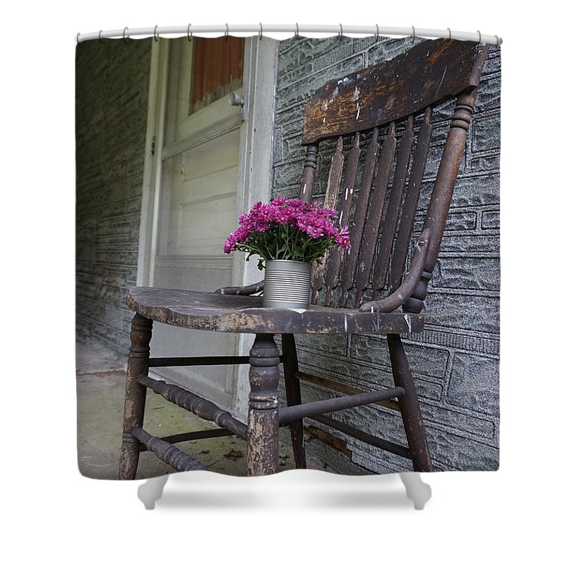 Wall Art Shower Curtain featuring the photograph Sit A Spell by Chris Naggy