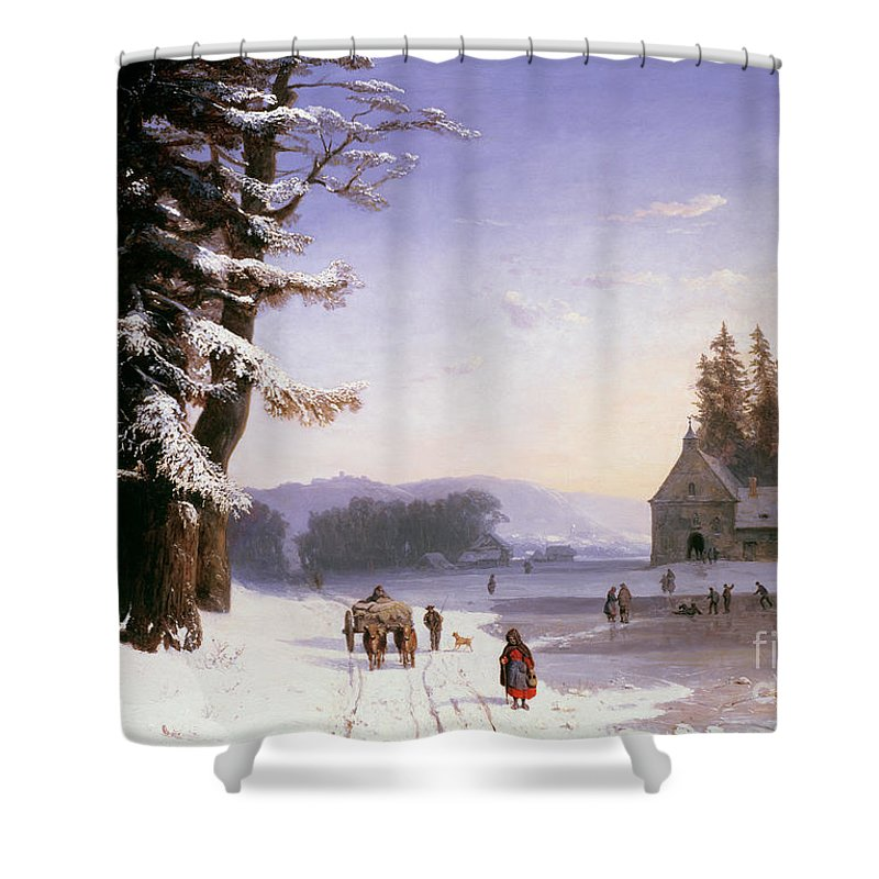 Wagon Shower Curtain featuring the painting Snow Scene In The South Of France, 1868 by Josephine Bowes