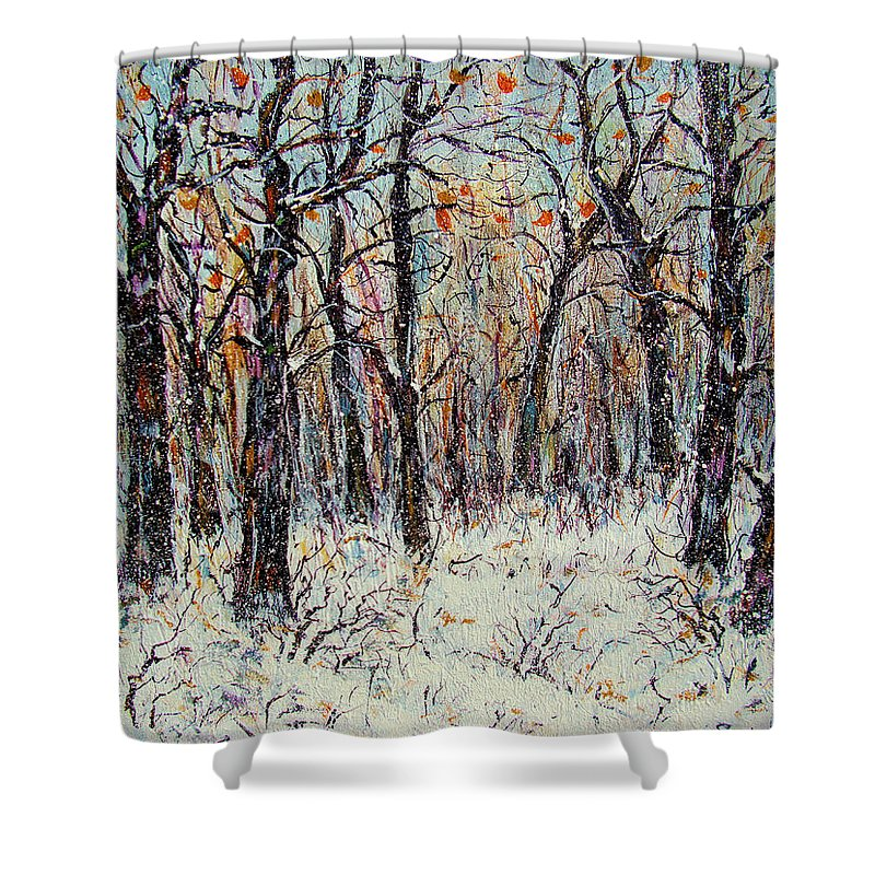 Landscape Shower Curtain featuring the painting Snowing In The Forest by Natalie Holland
