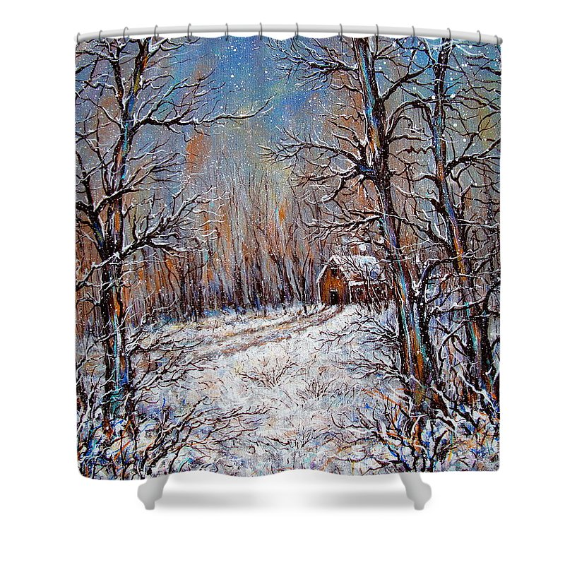 Landscape Shower Curtain featuring the painting Snowing in the Woods by Natalie Holland