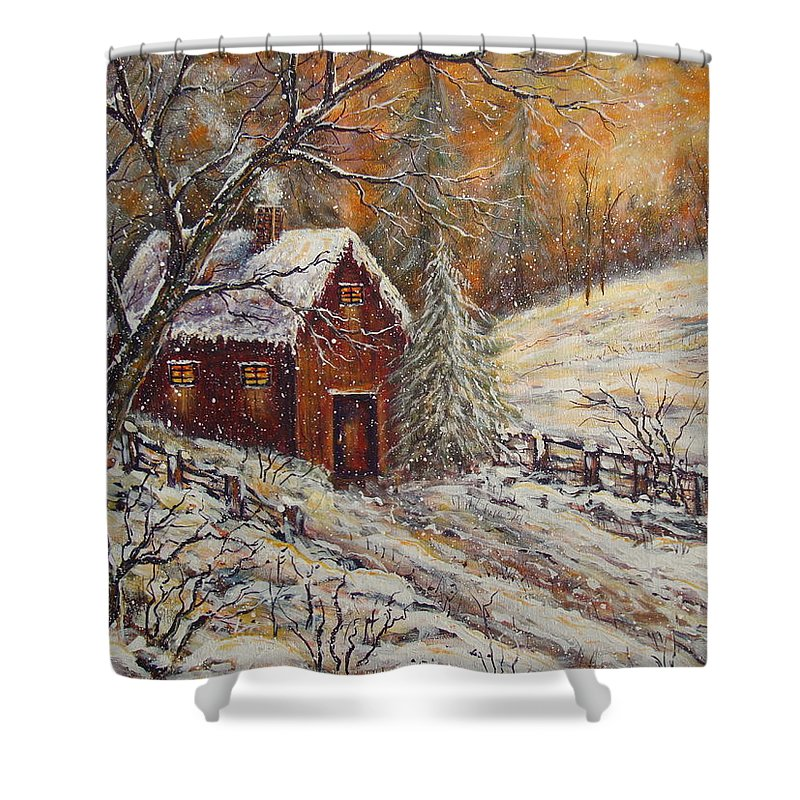 Landscape Shower Curtain featuring the painting Snowy Sunset by Natalie Holland