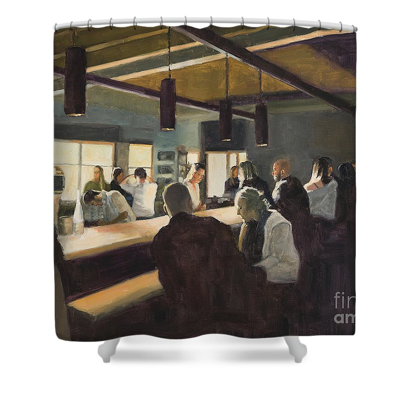 Bar Shower Curtain featuring the painting Social club by Tate Hamilton