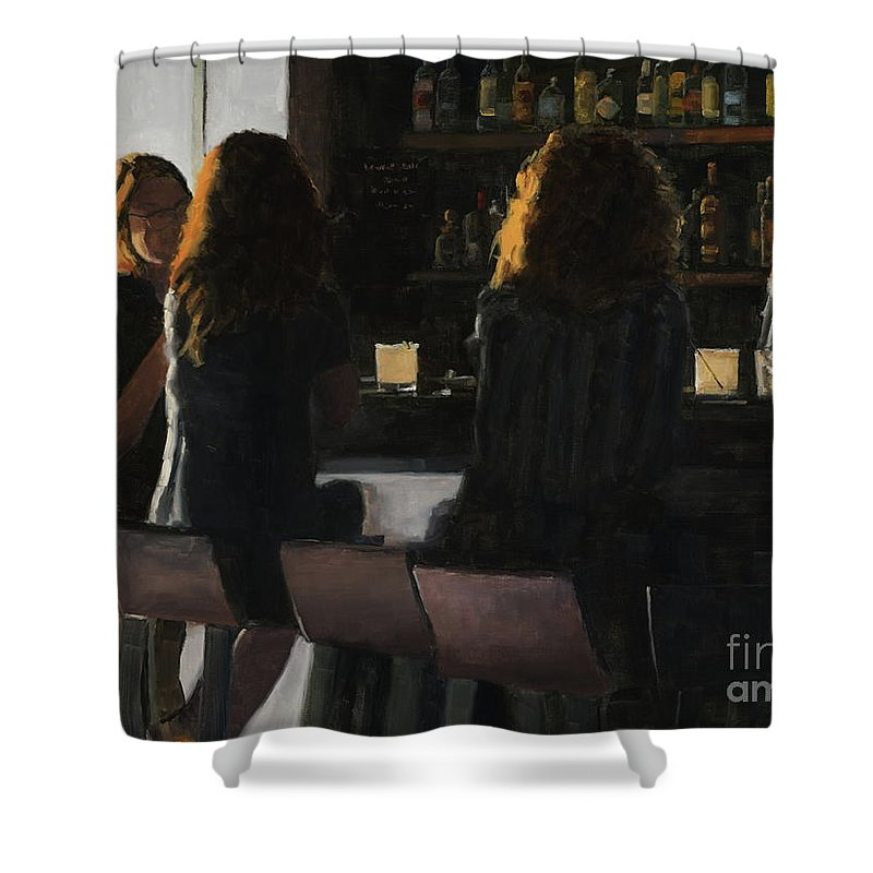 Bar Shower Curtain featuring the painting Social Hour by Tate Hamilton