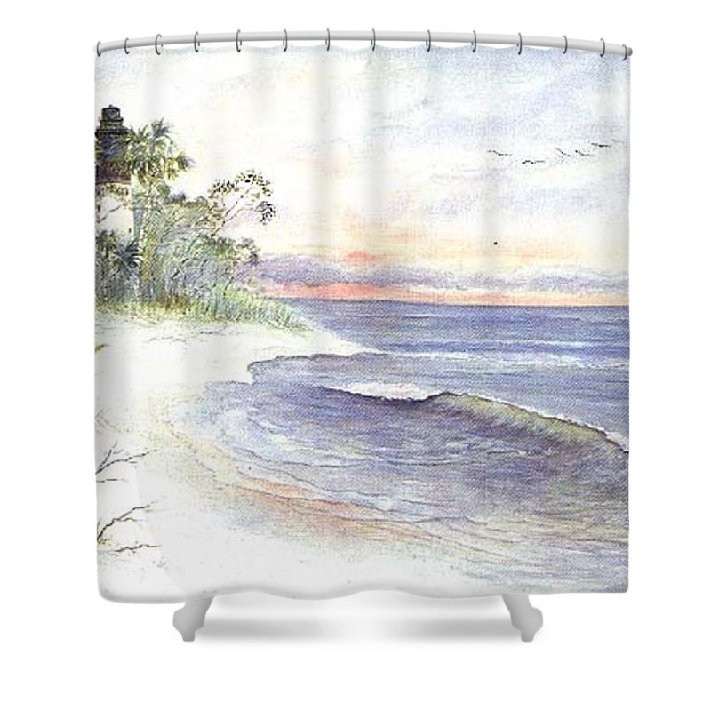 Lighthouse Shower Curtain featuring the painting Solitude by Ben Kiger