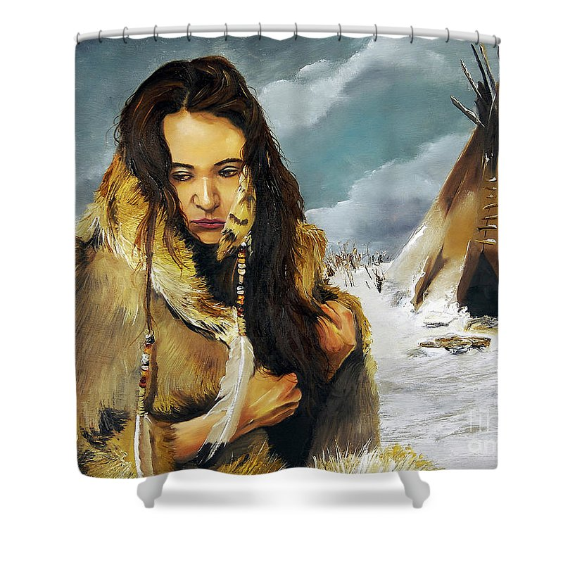 Southwest Art Shower Curtain featuring the painting Solitude by J W Baker