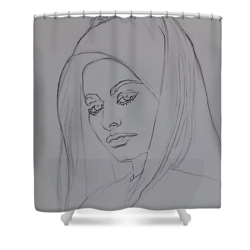 Woman Shower Curtain featuring the drawing Sophia Loren In Headdress by Sean Connolly