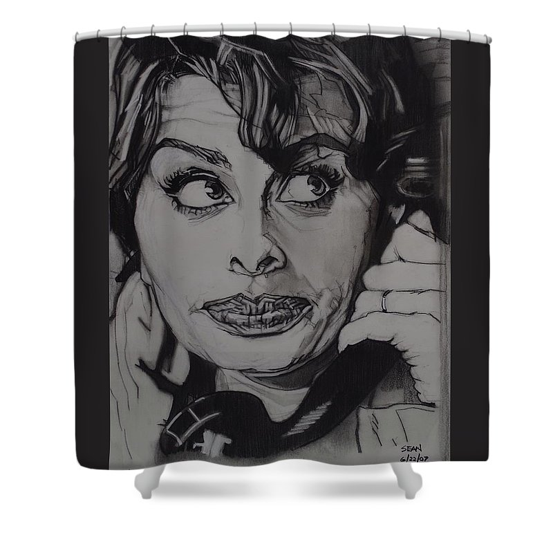 Charcoal On Paper Shower Curtain featuring the drawing Sophia Loren Telephones by Sean Connolly