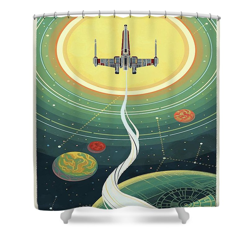 Star Wars Shower Curtain featuring the digital art Star Wars Poster by Trindira A