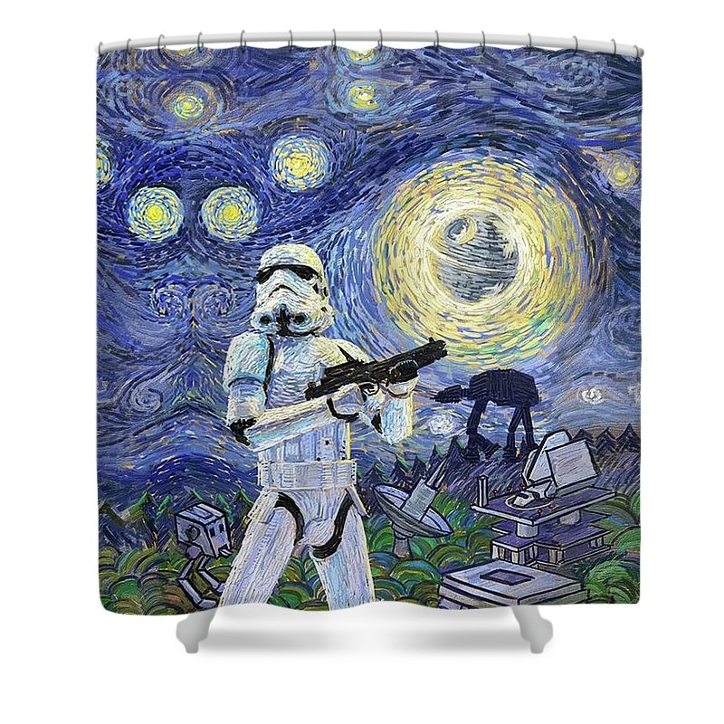 Starry Night Shower Curtain featuring the digital art Starry Night Fantasy Star Wars S by Trindira A