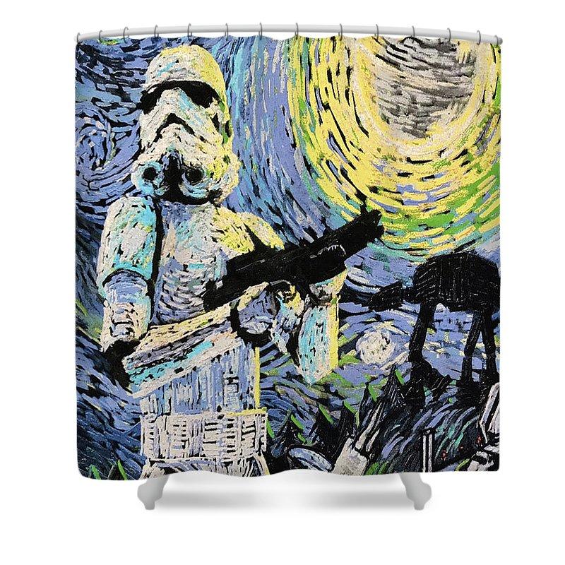 Starry Night Shower Curtain featuring the digital art Starry Night Fantasy Star Wars by Trindira A