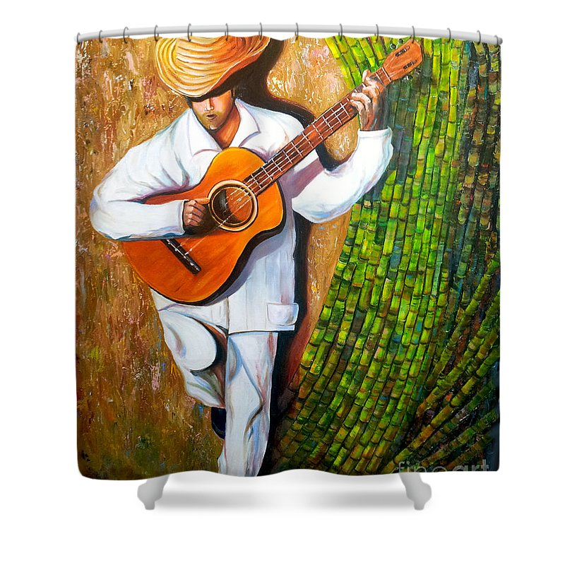 Cuban Art Shower Curtain featuring the painting Sugarcane Worker by Jose Manuel Abraham
