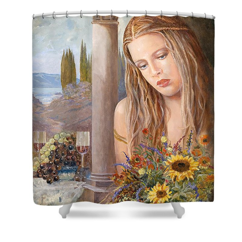 Portrait Shower Curtain featuring the painting Summer Day by Sinisa Saratlic