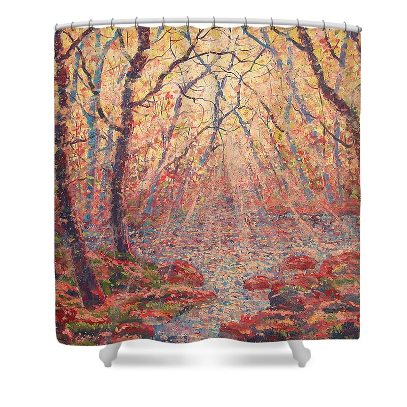 Painting Shower Curtain featuring the painting Sun Rays Through The Trees. by Leonard Holland