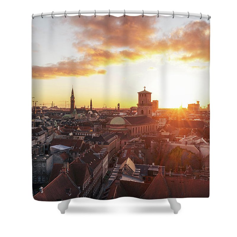 City Shower Curtain featuring the photograph Sunset above Copenhagen by Hannes Roeckel