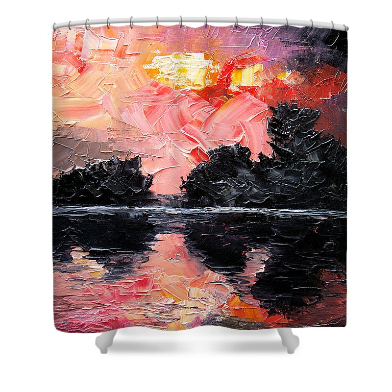 Lake After Storm Shower Curtain featuring the painting Sunset. After storm. by Sergey Bezhinets
