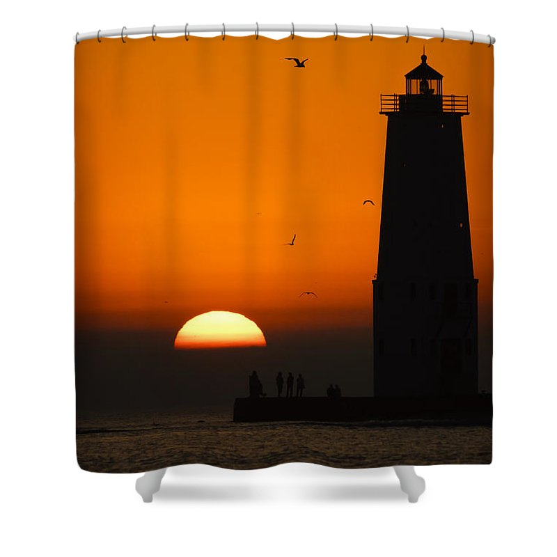 3scape Shower Curtain featuring the photograph Sunset at Frankfort North Breakwater Lighthouse by Adam Romanowicz